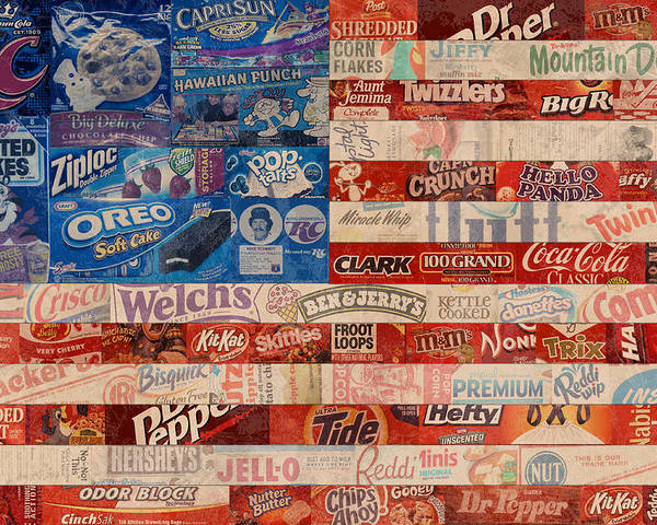 Flag Poster featuring the mixed media American Flag - Made From Vintage Recycled Pop Culture Usa Paper Product Wrappers by Design Turnpike