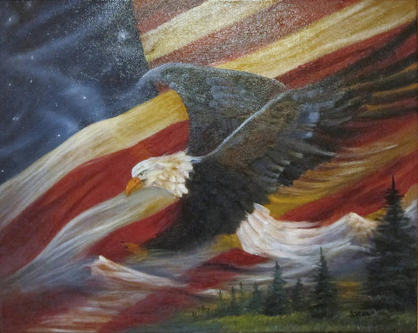 Curvismo Poster featuring the painting American Glory by Sherry Strong