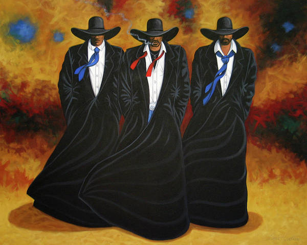 Original Cowboy Art Poster featuring the painting American Justice by Lance Headlee