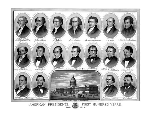 Us Presidents Poster featuring the mixed media American Presidents First Hundred Years by War Is Hell Store
