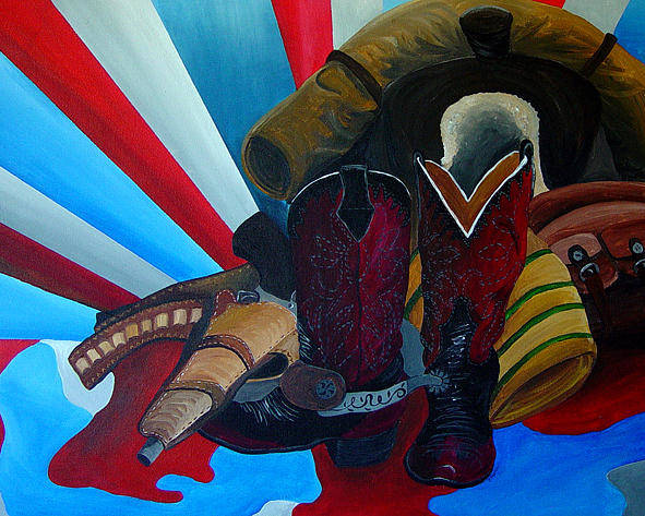 Cowboy Poster featuring the painting American Way by Karen Rester