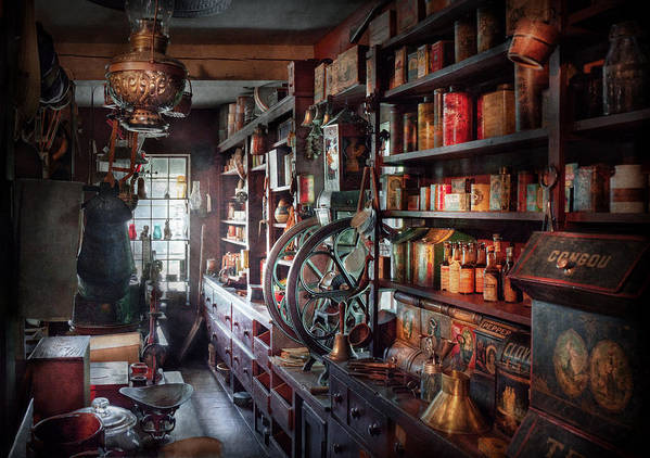 Hdr Poster featuring the photograph Americana - Store - Corner Grocer by Mike Savad