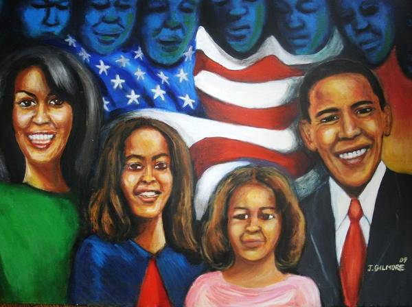 White House Poster featuring the painting America's First Family by Jan Gilmore
