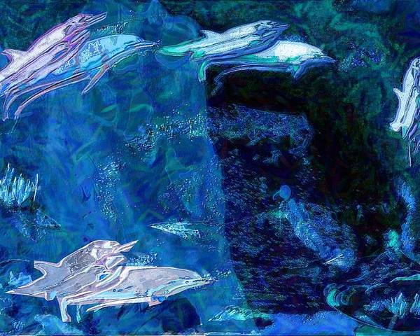 Dolphins Poster featuring the digital art Amidst Dolphins by Mushtaq Bhat