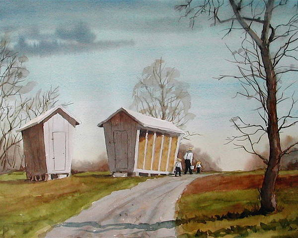 Farm Poster featuring the painting Amish Corncribs by Faye Ziegler