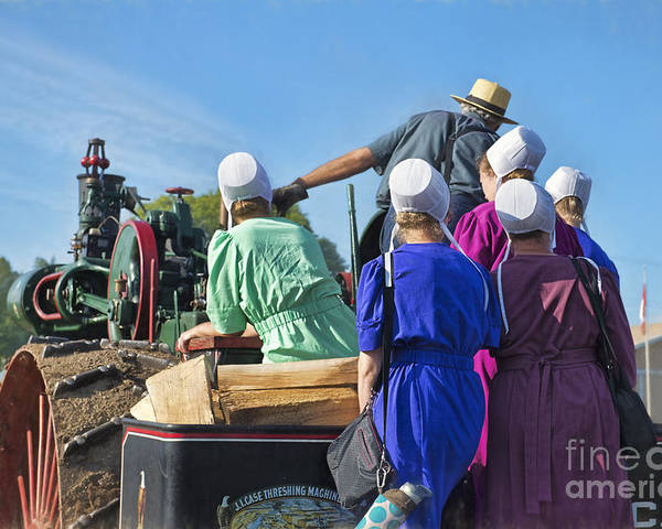 Amish Poster featuring the photograph Amish On Steam Engine by David Arment
