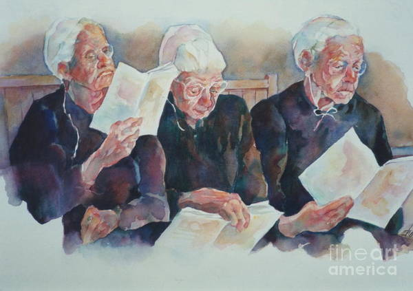 Amish Poster featuring the painting Amish Trio by Sherri Crabtree