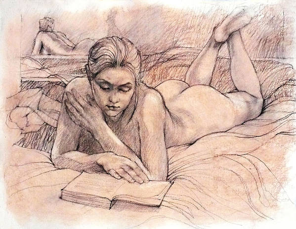 Female Nudes Poster featuring the drawing Amy Reading by Roz McQuillan