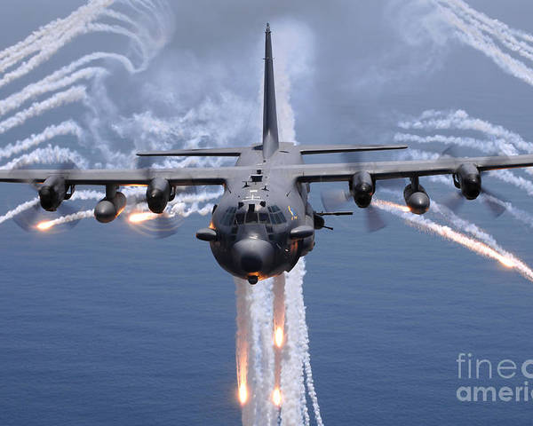 Ac-130 Poster featuring the photograph An Ac-130h Gunship Aircraft Jettisons by Stocktrek Images