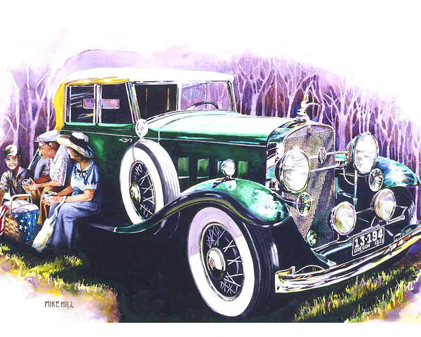1932 Cadillac V16 Classic Car Automobile Collector Realism Watercolor Painting Flag Depression Poster featuring the painting An American Classic by Mike Hill