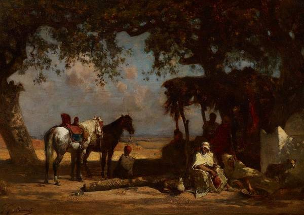 Arab; Encampment; Camp; Exotic; Orientalist; Arabian; Middle East; Middle Eastern; Horses; Travel; Travelers; Resting; Journey; Tent; Shade; Desert Poster featuring the painting An Arab Encampment by Gustave Guillaumet