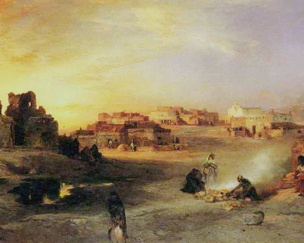 An Indian Pueblo Poster featuring the painting An Indian Pueblo by Thomas Moran