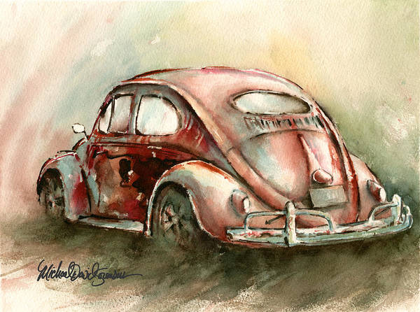 Vw Poster featuring the painting An Oval Window Bug In Deep Red by Michael David Sorensen
