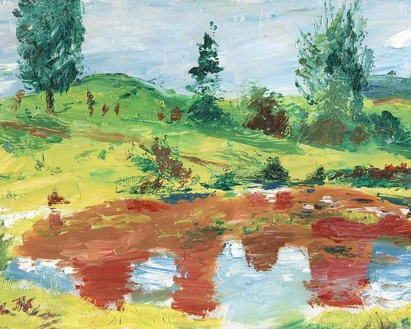 Landscape Poster featuring the painting An Upland Meadow by Horacio Prada