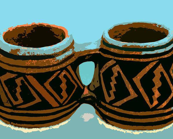 Anasazi Poster featuring the painting Anasazi Double Mug by David Lee Thompson