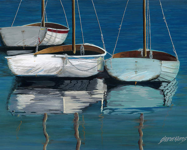North Carolina Poster featuring the painting Anchored Reflections I by Sharon Kearns