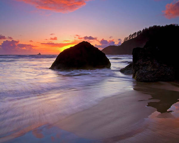 Sunset Poster featuring the photograph Anchoring The Beach by Mike Dawson