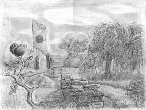 Landscape Poster featuring the drawing Ancient Church by Katie Alfonsi
