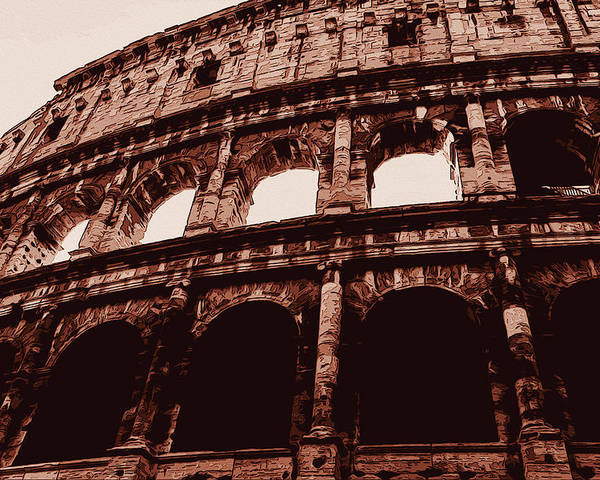 Roman Poster featuring the painting Ancient Colosseum, Rome by Andrea Mazzocchetti
