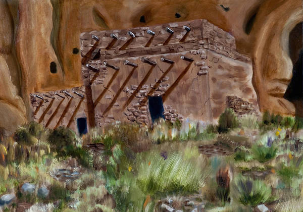 Ancient Dwelling Poster featuring the painting Ancient Dwelling by Michael Kitei