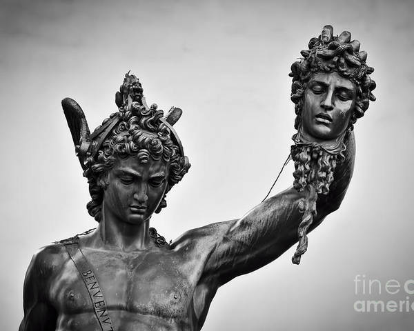 Ancient Style Sculpture Of Perseus With The Head Of Medusa In Loggia Dei Lanzi In Florence Italy Poster