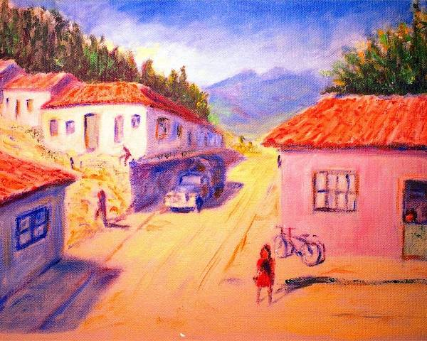 Oil Poster featuring the painting Andean Village by Horacio Prada