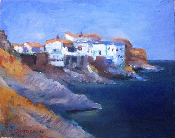 Greece Islands Paintings.andros Paintings.andros Island Paintings.sea Paintings.greek Islands Poster featuring the painting Andros Island by George Siaba