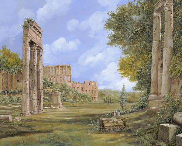 Landscapes Poster featuring the painting Anfiteatro Romano by Guido Borelli