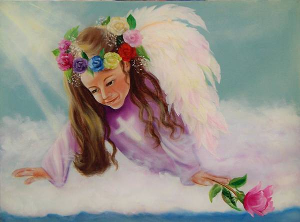 Oil Painting Poster featuring the painting Angel Above by Joni McPherson