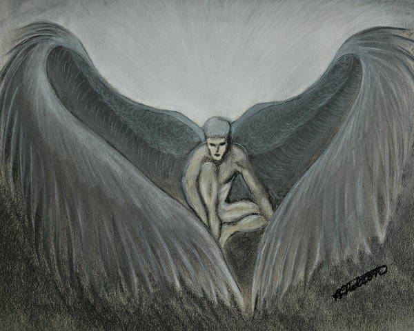 Angel Poster featuring the painting Angel At Twilight - Charcoal - 8 X 12 by B Nelson