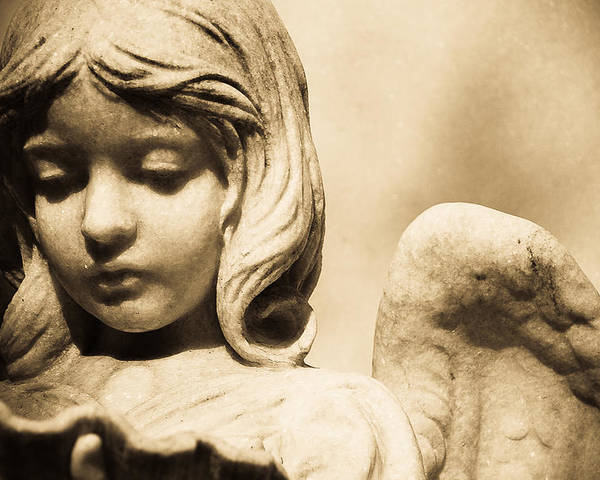 Angel Statue Holding Clamshell Poster featuring the photograph Angel Holding Clam Shell by Diane Payne