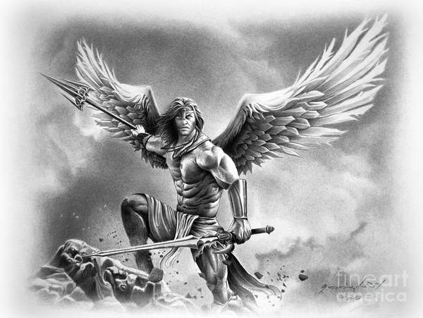 Warrior Poster featuring the drawing Angel Warrior by Miro Gradinscak