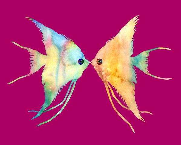 Fish Poster featuring the painting Angelfish Kissing by Hailey E Herrera