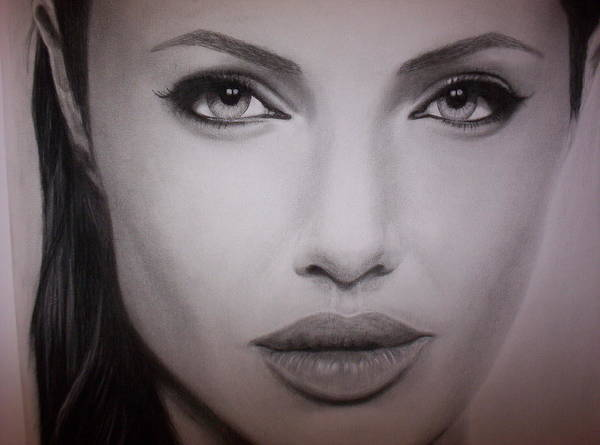 Angelina Poster featuring the drawing Angelina Jolie by Brendan SMITH