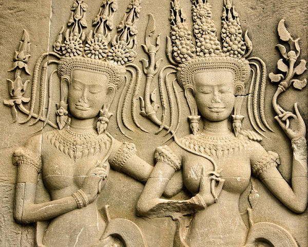 Asia Poster featuring the photograph Angkor Wat Relief by Michele Burgess