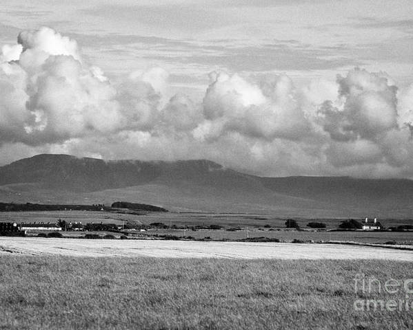 Anglesey Poster featuring the photograph Anglesey Farmland And Distant Hills North Wales Uk by Joe Fox