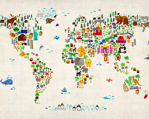 Animal Map Of The World For Children And Kids Poster by Michael