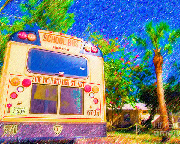 Anna Maria Elementary Poster featuring the mixed media Anna Maria Elementary School Bus C131270 by Rolf Bertram