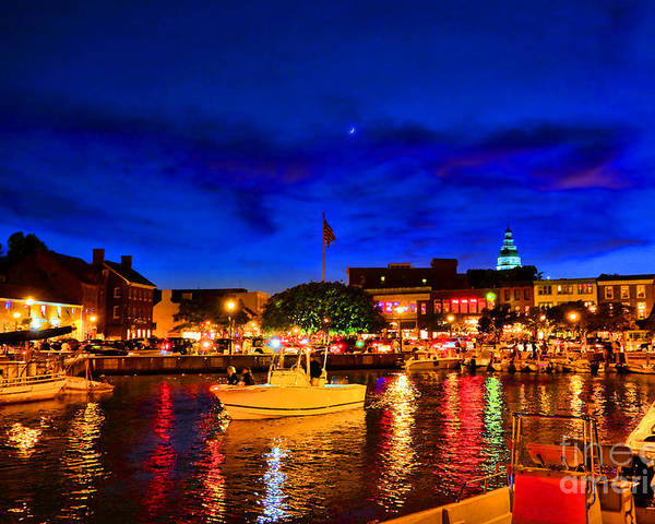 Annapolis Poster featuring the photograph Annapolis Magic Night by Olivier Le Queinec