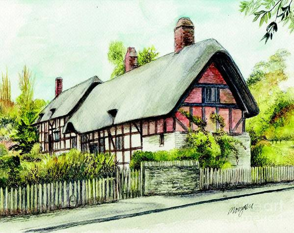 Anne Poster featuring the painting Anne Hathaway Cottage England by Morgan Fitzsimons