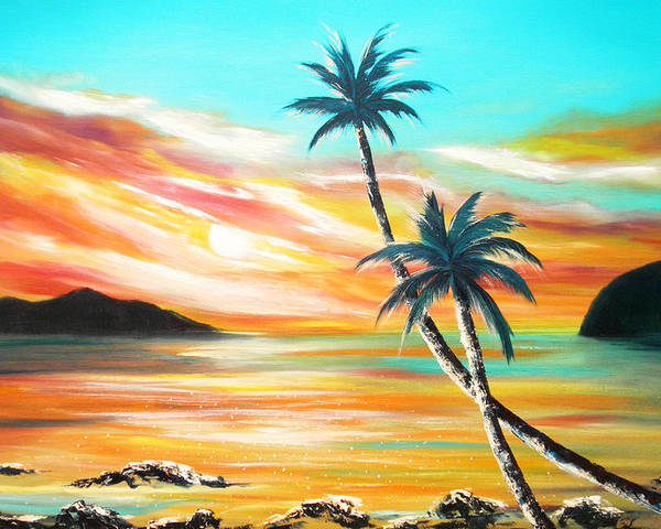 Sunset Poster featuring the painting Another Sunset In Paradise by Gina De Gorna