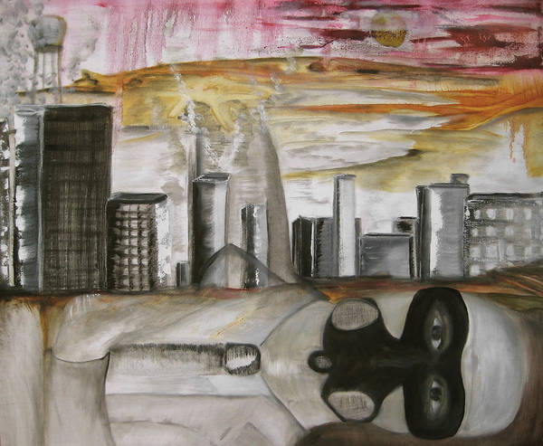 Apocalypse City End Futurism Inch Nails Nin Nine Oil Painting Times Year Zero Poster featuring the painting Another Version Of The Truth by Darkest Artist