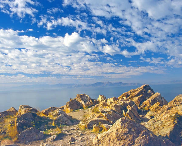 Landscape Poster featuring the photograph Antelope Island 4 by Steve Ohlsen