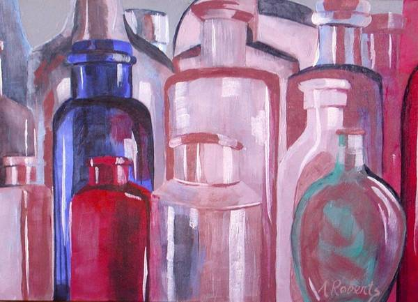 Antique Bottles Poster featuring the painting Antique Bottles by Anna Roberts