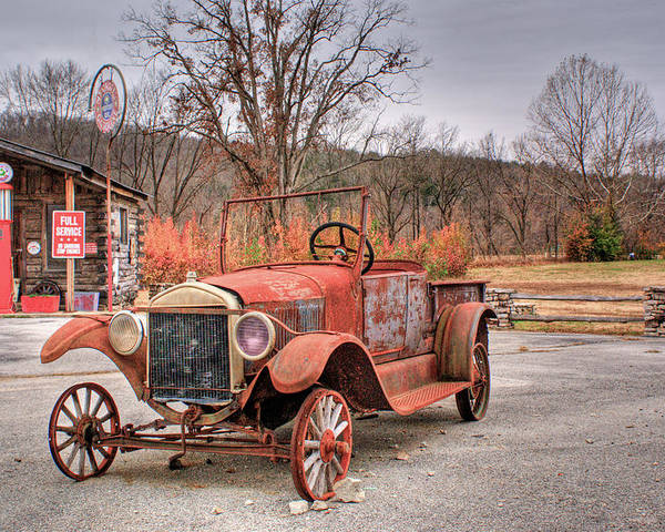 Antique Poster featuring the photograph Antique Car And Filling Station 1 by Douglas Barnett