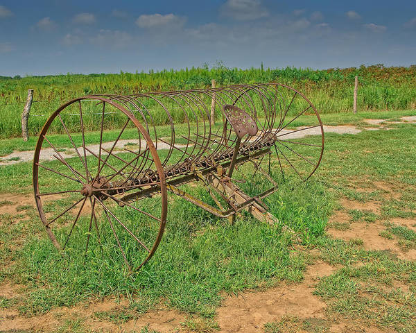 Antique Poster featuring the photograph Antique Farm Rake by Gary Prill