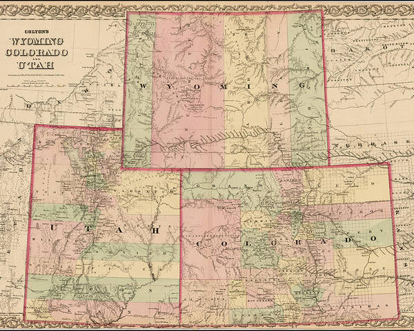 map of wyoming and utah Antique Map Colton S Wyoming Colorado And Utah 1876 Poster By Cb map of wyoming and utah