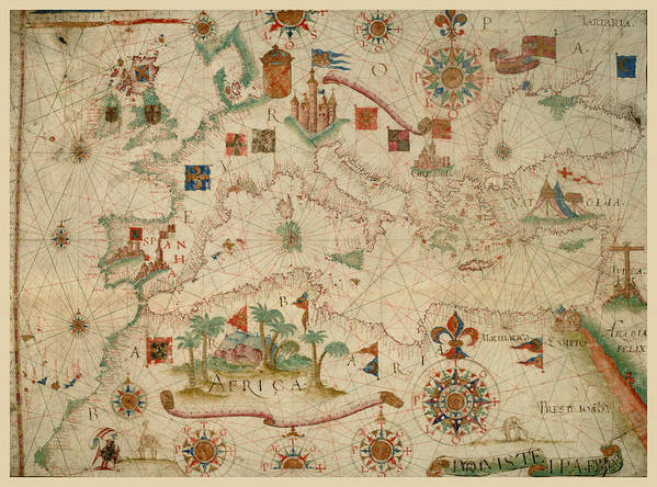 Antique Maps - Old Cartographic Maps - Antique Map Of The Nautical ...