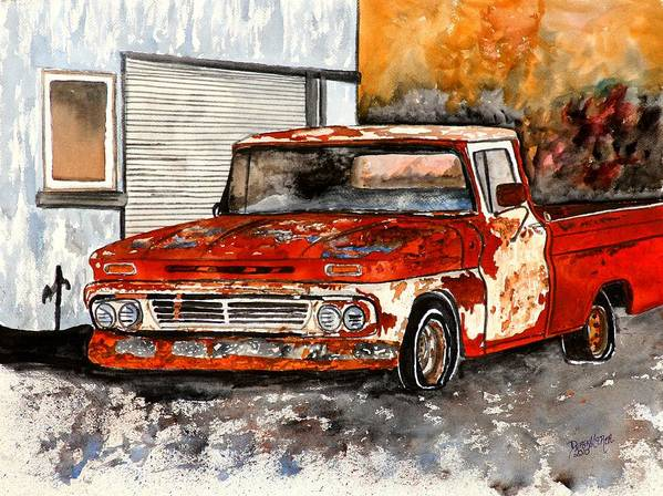 Transportation Poster featuring the painting Antique Old Truck Painting by Derek Mccrea