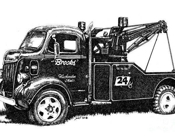 Vehicle Poster featuring the drawing Antique Tow Truck by Sheryl Unwin
